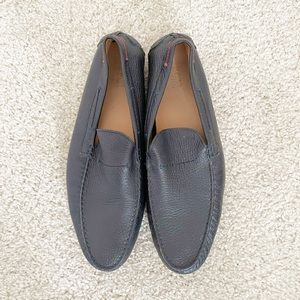 Hugo Boss Navy Leather Loafer Shoes